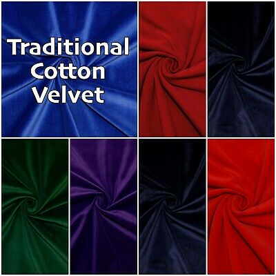 COTTON VELVET 100% Cotton Plain Colour Soft Luxury Velveteen Velour Dress Fabric