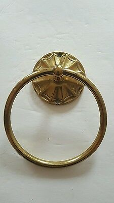 Architectural salvage solid brass towel ring