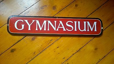 Reclaimed Vintage 1970's 1980's Hand Painted Gymnasium Wooden Sign Salvaged
