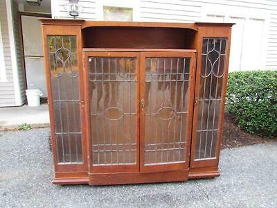 ANTIQUE 1880s AMERICAN OAK LEADED DOOR BOOKCASE, CLEAN ORIGINAL FINISH
