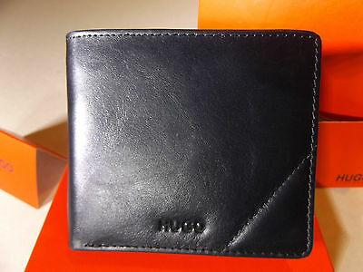 New Hugo Boss Style Wallet Steit Bifold Black Leather With Coin Pocket