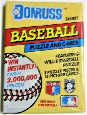 1 Unopened Pack Of 1991 Donruss Baseball Puzzle and Cards~Willie Stargell  NOS