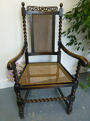 Vintage Oak Carved Chair, With Rattan Seat, Bergere Chair