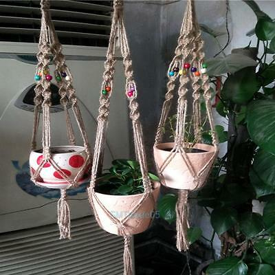Pot Hanging Basket Holder Handcrafted Braided Macrame Rope Plant Hanger Decor S5