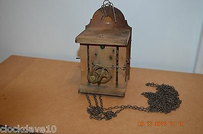 Antique Wooden Plates Cuckoo Clock movement with chains for parts or project