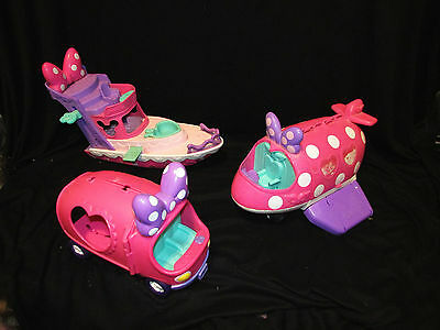 2011 Disney Minnie Mouse Bowtique Lot of Bus Plane and Boat! Fisher-Price Mattel