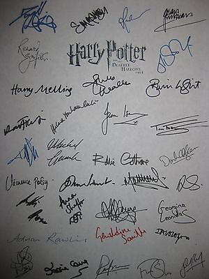 Harry Potter Deathly Hallows part 1 signed Script x33 Daniel Radcliffe Watson rp