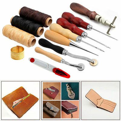 Sewing Leather Craft Tools Kit 14 pcs Awl Waxed Thimble Needle Scissor -UK