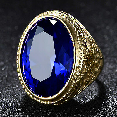 Oval Blue Sapphire Rhinestone Gold Filled Mens Stainless Steel Biker Rider Rings