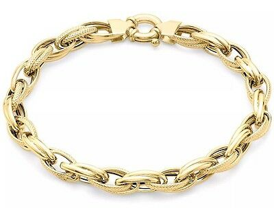 9ct Yellow Solid GOLD Textured Double Link Bracelet 23cm/9 Inches + Free Gift