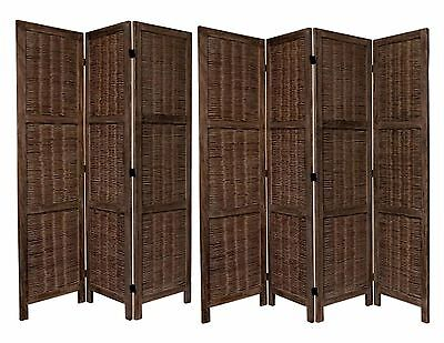 3 or 4 Panel Wood & Bamboo Screen Room Divider with Weave Design, Espresso Color