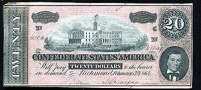 T-67 1864 $20 Twenty Dollars Csa Confederate States Of America