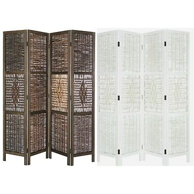 4 Panel Bamboo & Wood Screen Room Divider, Weave Design w/ Diamond Shaped Accent