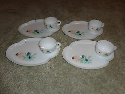 Vintage 1950s Federal Glass Co Milk Glass Patio Snack Set of 4 Atomic Flowers