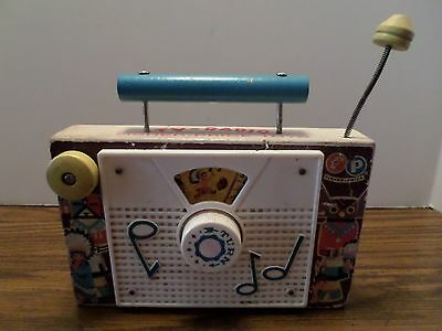 """Vintage Fisher Price Wooden Toy TV-Radio """"Ten Little Indians"""" Made in USA Works"""
