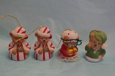 Vintage LOT OF 4 CHRISTMAS  BEAR FIGURINES ORNAMENTS PORCELAIN