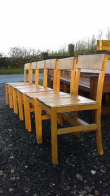 Solid Wooden Chapel Chairs Set of 6 Dining Vintage Reclaimed Church Seats