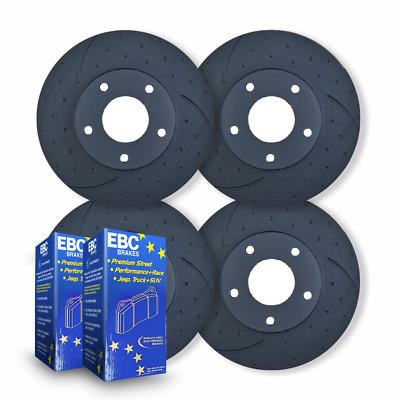 FULL SET DIMPL SLOTTED DISC BRAKE ROTORS + PADS for Ford Falcon FG XR8 5/2008 on