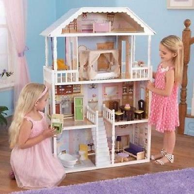 Barbie Size Dollhouse Furniture Girls Playhouse Wooden Doll House Dream Play