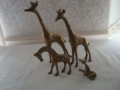 4 Solid Brass Giraffe Figurines Sculpture Textured Standing Sitting