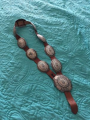 Sterling Silver Concho And Leather Belt Signed Albert & Jeanette Brown Navajo