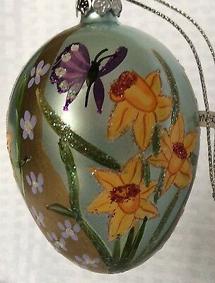 Hand Painted Glass EGG WITH DAFFODILS AND BUTTERFILES Ornament