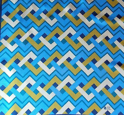 Vintage 1960s Blue & Gold Liberty Silk Women's 58cm Square Scarf- Minor Flaws