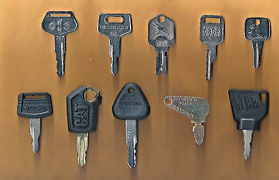 Heavy Equipment Key Set 10pc- Case,CAT,JD,Komatsu,Hitachi,Volvo with OEM Logos