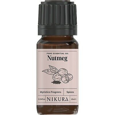 10ml NUTMEG ESSENTIAL OIL - 100% Pure and Natural (Aromatherapy)