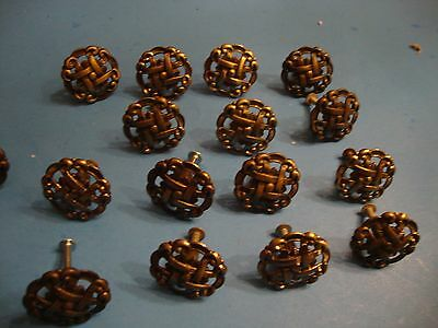 17 Mid-Century Vintage  Round  Fancy Design Brass Drawer Cabinet Knobs Pulls