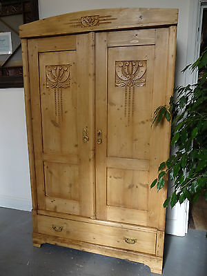 Lovely Large Two Door Wood Wooden Carvd Wardrobe Storage Hand Waxed