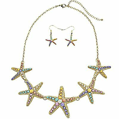 NAUTICAL OCEAN SEA LIFE STARFISH BIB LINKED NECKLACE & EARRINGS SET new