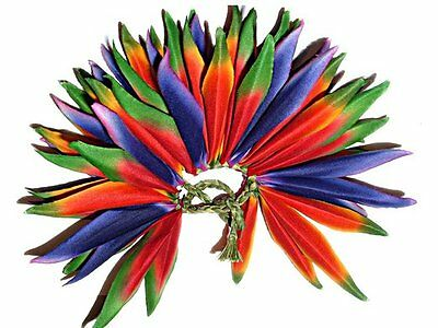 Hawaiian Hula Polynesian Hair Flowers Dancer Silk Heliconias Braided Raffia 4""