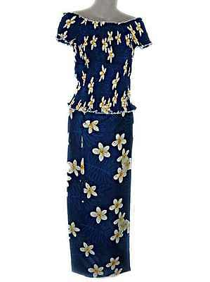 HAWAIIAN PLUMERIA FLOWERS BLUE & WHITE LONG SKIRT & TOP SET (FAF16) new