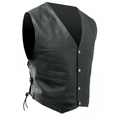 Rjays mens leather lace-up motorcycle vest black size large