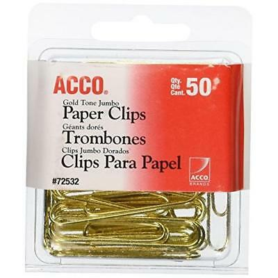 ACCO Gold Tone Jumbo Paper Clips, Smooth Finish, Steel Wire, 20 Sheet Capacity,