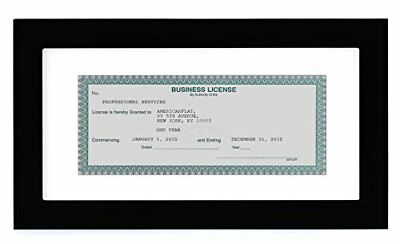 Business License Frame - Made for Business Licenses Sized 3.5 x 8 Inch with Mat