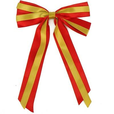 "7"" Christmas Tree Florist Ribbon Decoration Giant Bows & Long tails x 2 Red/Gold"