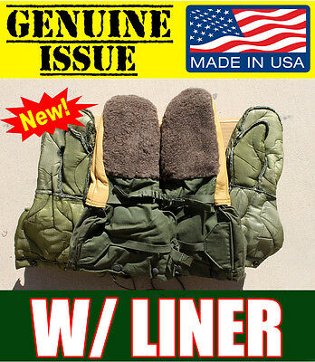 US MILITARY MED. WOOL LEATHER MITTEN ARMY Arctic Extreme Cold WEATHER GLOVES N4B