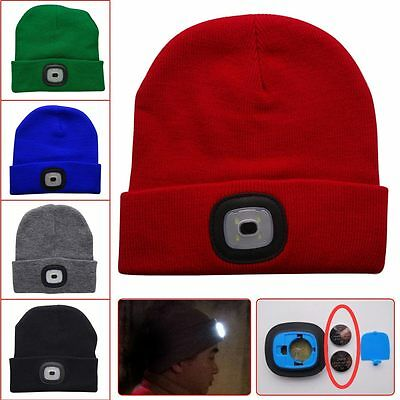 Beanie 4LED Winter Warm Knit Hat Hands Free Flashlight Cap for Outdoor Climbing