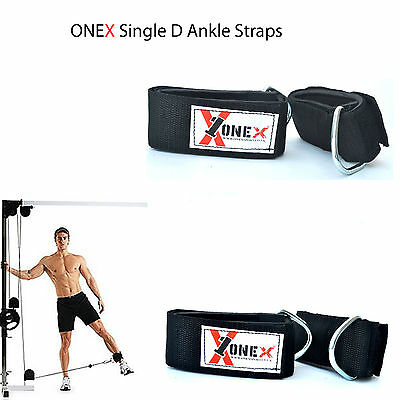ONEX Gym Training Single D Ankle Ring Straps Attachment Leg Pull Weigh Lifting
