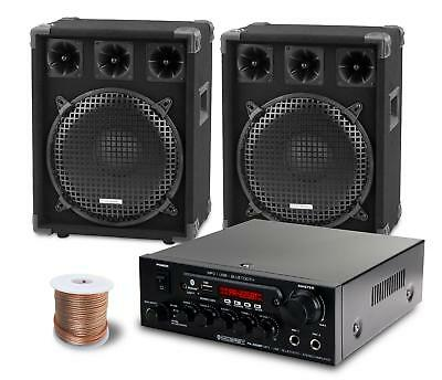 Dj Pa System Party Disco Set Speakers Bluetooth Amplifier Cable Usb Mp3 Eq 1200W
