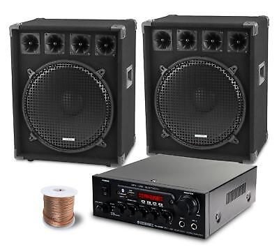 Dj Pa System Party Disco Set Speakers Bluetooth Amplifier Cable Usb Mp3 Eq 1600W