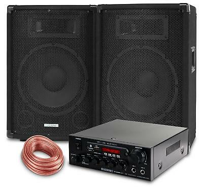 Dj Pa System Party Disco Set Speakers Bluetooth Amplifier Cable Usb Mp3 Eq 800W