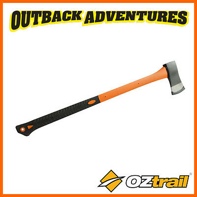 OZtrail SPLITTING AXE WITH RUBBER HANDLE  – 800mm HANDLED CAMPING TOOL