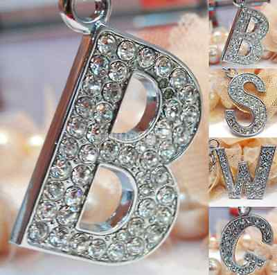 Bling Crystal Sparkly Alphabet Keyring Initial Letter Key Ring Chain Keychain AU