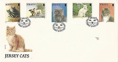 Uk Gb Jersey Fdc 1994 Cats: Siamese, Persian, Maine Coon, British Shorthair