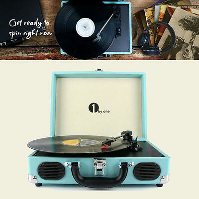 Vintage Vinyl Record Player Stereo Turntable W/ Speaker MP3 Turquoise Belt Drive