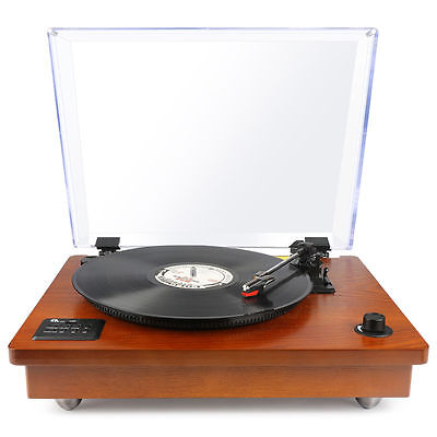 1byone Bluetooth USB Turntable Vintage Record Player Vinyl-to MP3 Nature Wood