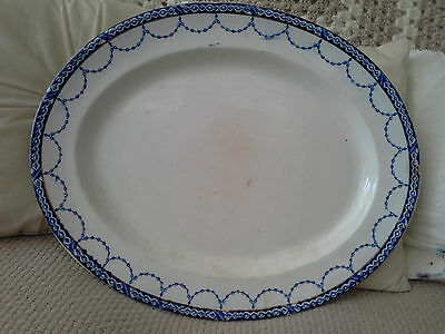 REDUCED - Oval Meat Platter 40cm x 32cm  Cream With Blue Border Vintage Used